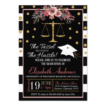 Law School Graduation Invitation -Floral