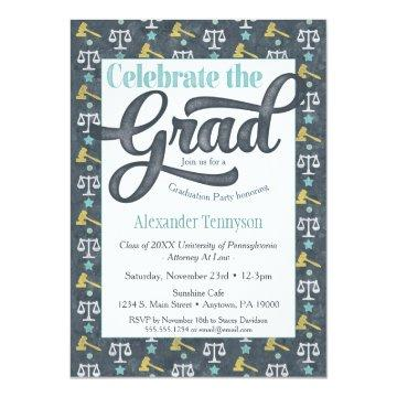 Law School Graduation Invitation Lawyer Gray Aqua
