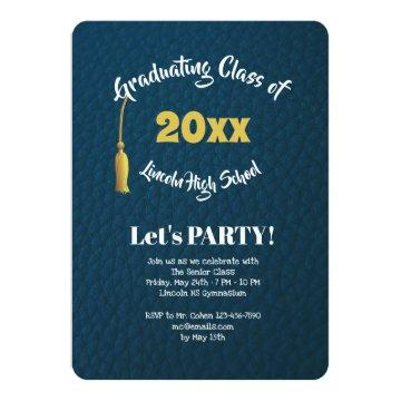 Leather Grain Graduation Party Invitation