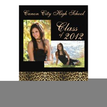 Leopard animal print graduation announcement