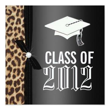 Leopard Black Graduation Party Card
