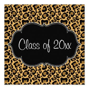 Leopard Print Graduation Party Announcement