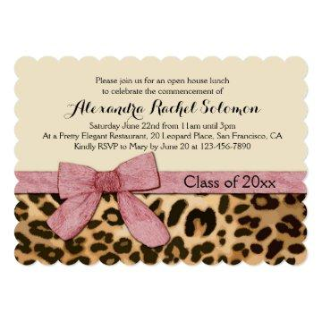 Leopard Print Pink Bow Graduation/Party