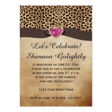 Leopard Print Pink Heart Bling Graduation Party Card