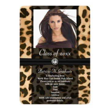 Leopard Ribbon Photo Graduation Card