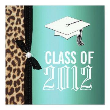 Leopard Teal Graduation Party Card