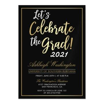 Let's Celebrate The Grad! | Gold Black Graduation Magnetic Card