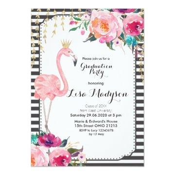 Let's Flamingle Graduation Party Invitation Pink