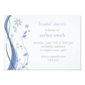 Light blue & grey floral charm invitation
