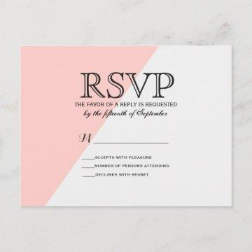 Light Salmon Pink and Gray Two Tone Invitation Postcard