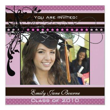 Lilac Dots & Swirls Senior Pictures Class of 2011 Invitations