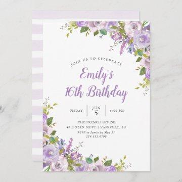 Lilac Floral Birthday Party Invitation
