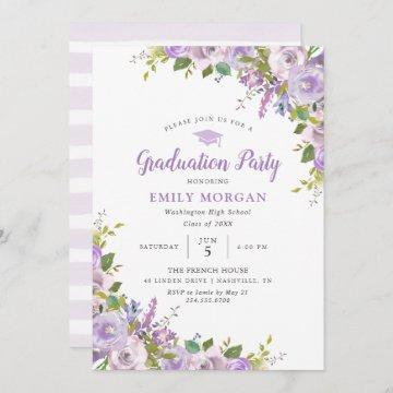 Lilac Floral Graduation Party Invitation