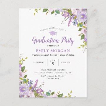 Lilac Floral Graduation Party Invitation Postcard