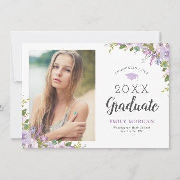 Lilac Floral Photo Graduation Announcement