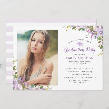 Lilac Floral Photo Graduation Party Invitation