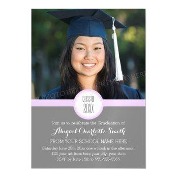 Lilac Grey Modern Graduation Party Magnetic Card