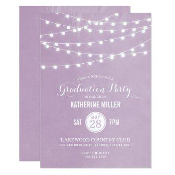 Lilac String Lights Graduation Party Invitations