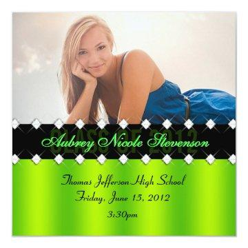 Lime and Black Chic Diamond Graduation Invite