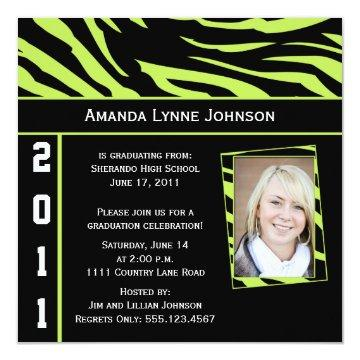 Lime and Black Zebra Print Graduation Invitation