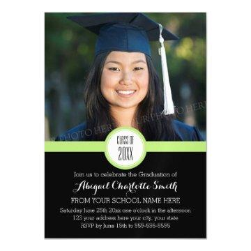 Lime Black Modern Graduation Party Magnetic Card