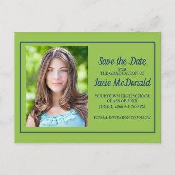 Lime Green and Navy Blue Graduation Save the Date Announcement Postcard