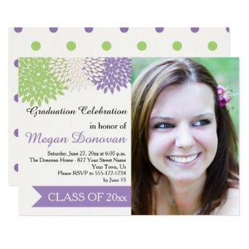 Lime Green Ivory Purple Petals Graduation Party Invitation