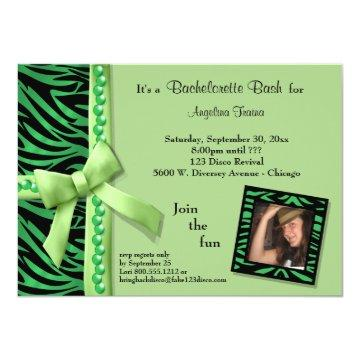 Lime Green Pearls And Zebra Stripes Card