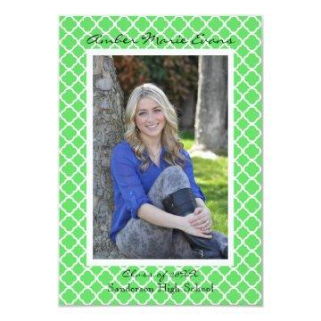 Lime Green Quatrefoil - 3x5Graduation Announcement