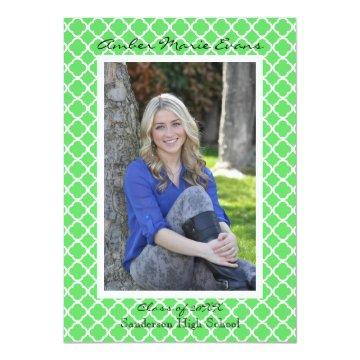 Lime Green Quatrefoil - Graduation Announcement
