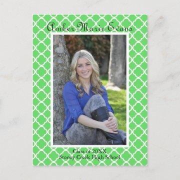 Lime Green Quatrefoil - Graduation Post Card