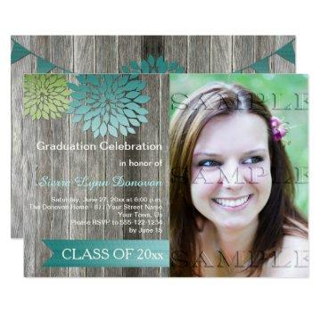 Lime Green Teal Petals Barn Wood Graduation Party Invitation