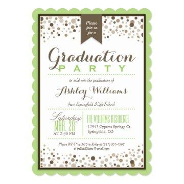 Lime Green, White, & Taupe Graduation Party Card