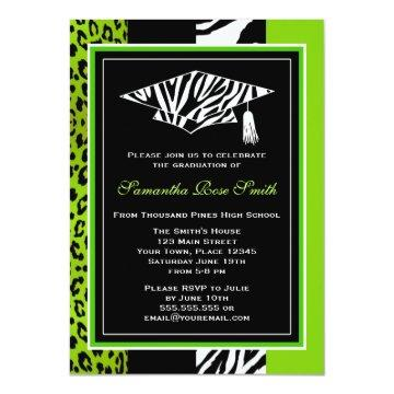 Lime Green Zebra and Leopard Print Graduation Invitations