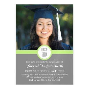 Lime Grey Modern Graduation Party Magnetic Card