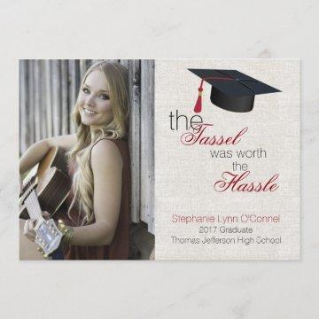 Linen Look Photo Graduation Announcement