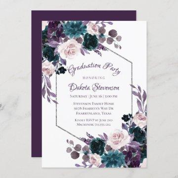 Love Bloom | Eggplant Moody Purple Graduation Invitation