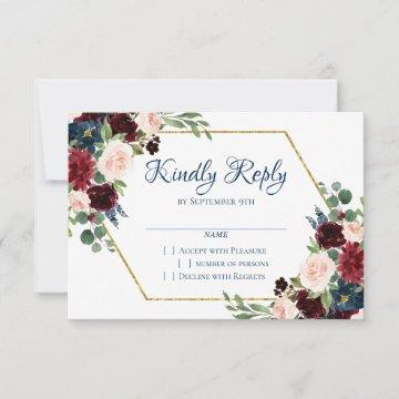 Love Bloom | Rustic Navy Blue Burgundy Red RSVP Card