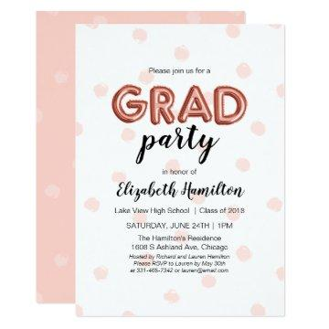 Lovely Rose Gold Balloon Letters Grad Party Card