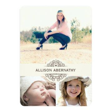 Lovely Then and Now Photo Graduation Party | Ivory Card
