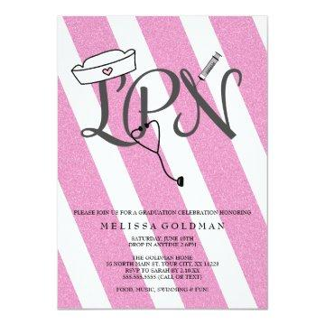 LPN nurse graduation invites hot pink glitter