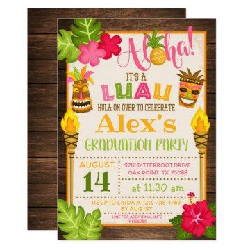 Luau Graduation Party Invitation - Orange Text