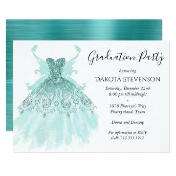 Luxe Fairy Wing Gown | Mint Green Graduation Invitation