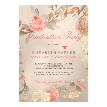 Luxury Glam Peach Cream Floral Graduation Party Invitation
