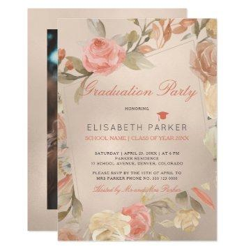 Luxury Glam Peach Floral PHOTO Graduation Party Invitation
