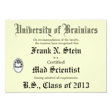 Mad Scientist Diploma Joke invitation