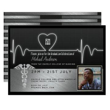 Male Nurse Graduation Invitation - PHOTO Silver Bl