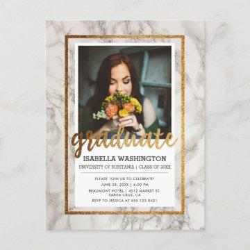 Marble & Gold Typography Photo Graduation Party Invitation Postcard