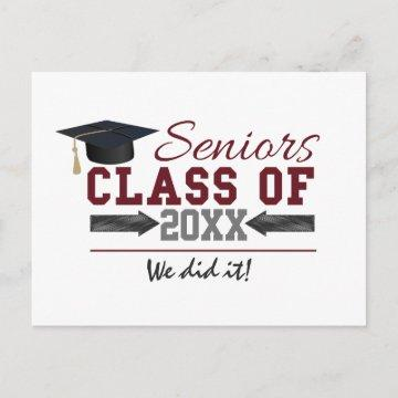 Maroon and Gray Typography Graduation Gear Announcement Postcard