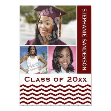 Maroon Chevron Graduation 3 Photo Card